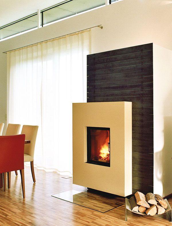 chemin e en ma onnerie peinte parement en m tal noir. Black Bedroom Furniture Sets. Home Design Ideas