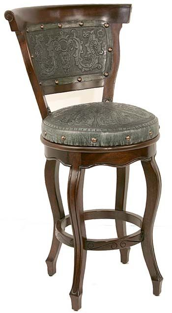 Tooled Turquoise Leather Barstool Set Of 2 Great Furniture