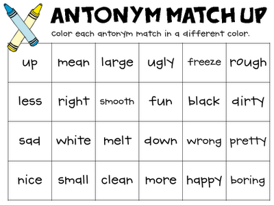 antonym match up classroom freebies pinterest classroom