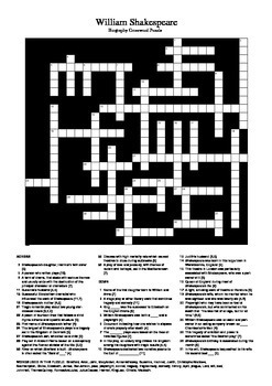 Shakespeare Biography Crossword Puzzle In 2020 Shakespeare S