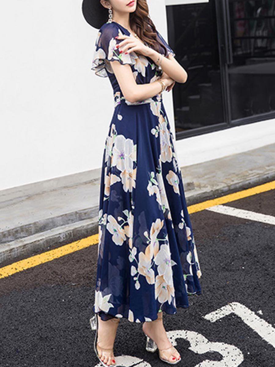 Summer V Neck Floral Printed Chiffon Maxi Dress Maxi Dress Elegant Mini Dress Chiffon Maxi Dress [ 1200 x 900 Pixel ]