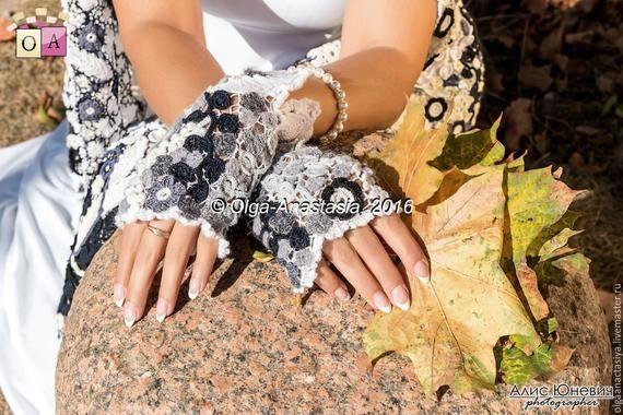 CROCHET PATTERN - Crochet Fingerless Gloves Pattern and Crochet Shawl Pattern - Irish lace - Digital download (2 PDF) #irishlacecrochetpattern