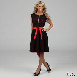 'Amelia' Belted Lace Dress