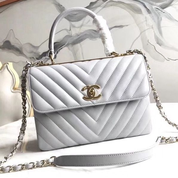 d70e7c14af5e Chanel Chevron Small Trendy CC Flap Bag With Top Handle A92236 Light Grey  2018(Gold-tone Hardware)