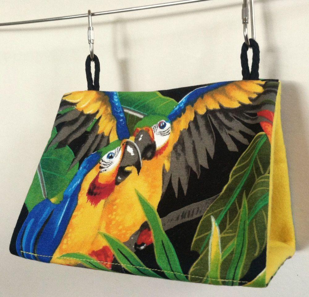 Small Bird Tent Hut Bunk Bed Parakeet Budgie Lovebird Parrot USA~Macaws on Black # & Small Bird Tent Hut Bunk Bed Parakeet Budgie Lovebird Parrot USA ...