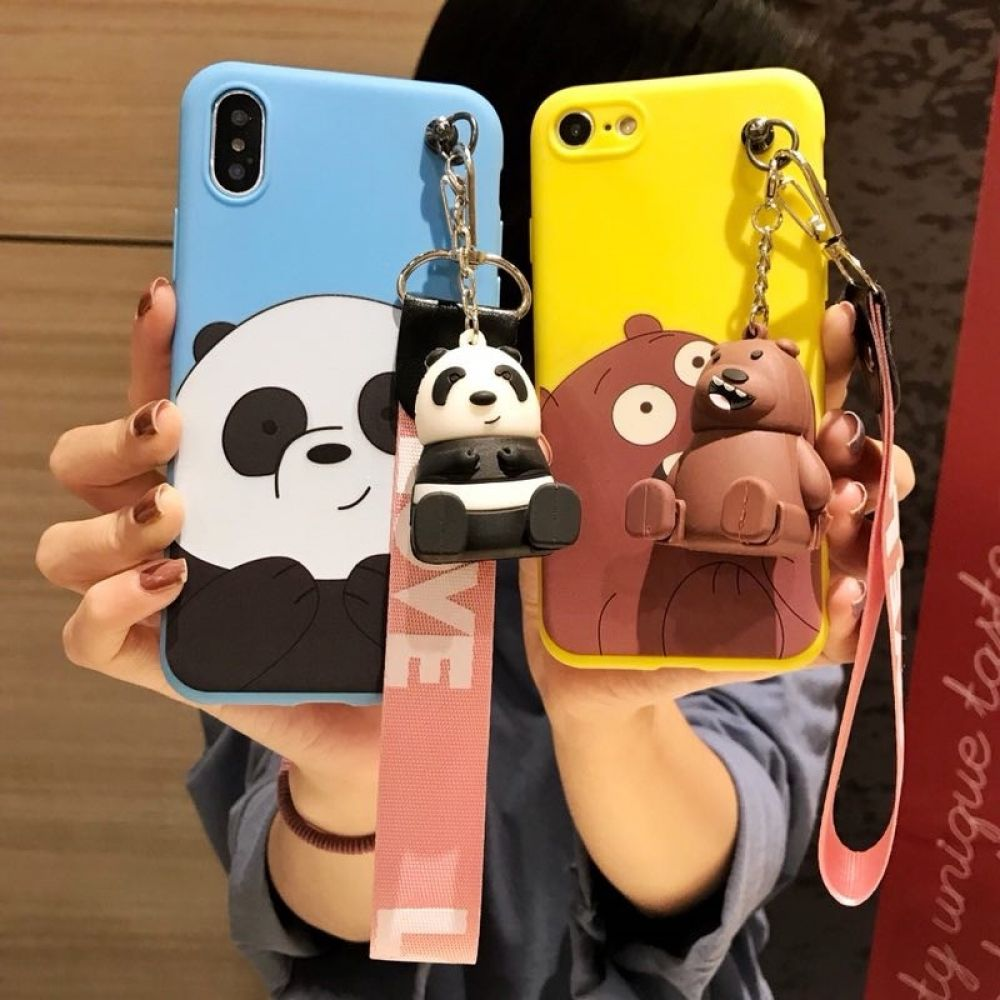 3d Cute We Bare Bears Brothers Funny Toys Lanyard Bracket Silicone Phone Case Available For Most Iphones We Bare Bears Funny Iphone Cases Stylish Phone Case