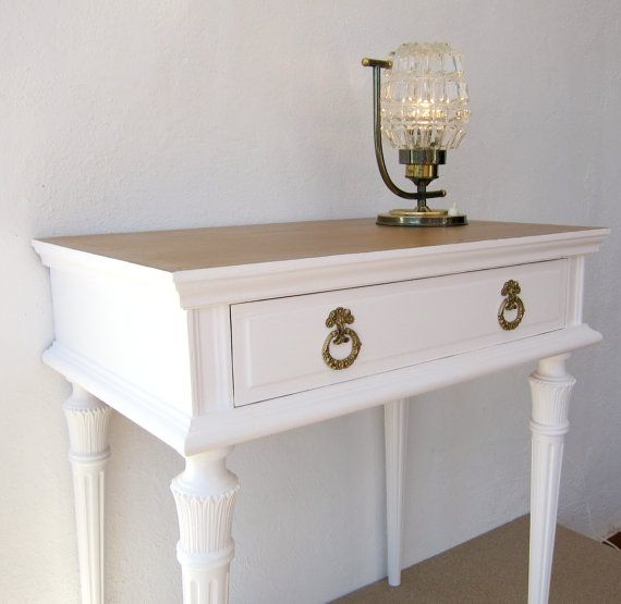Gold Shabby Chic Coffee Table: VINTAGE Bedside Table, RESTORED; White And Gold Painted