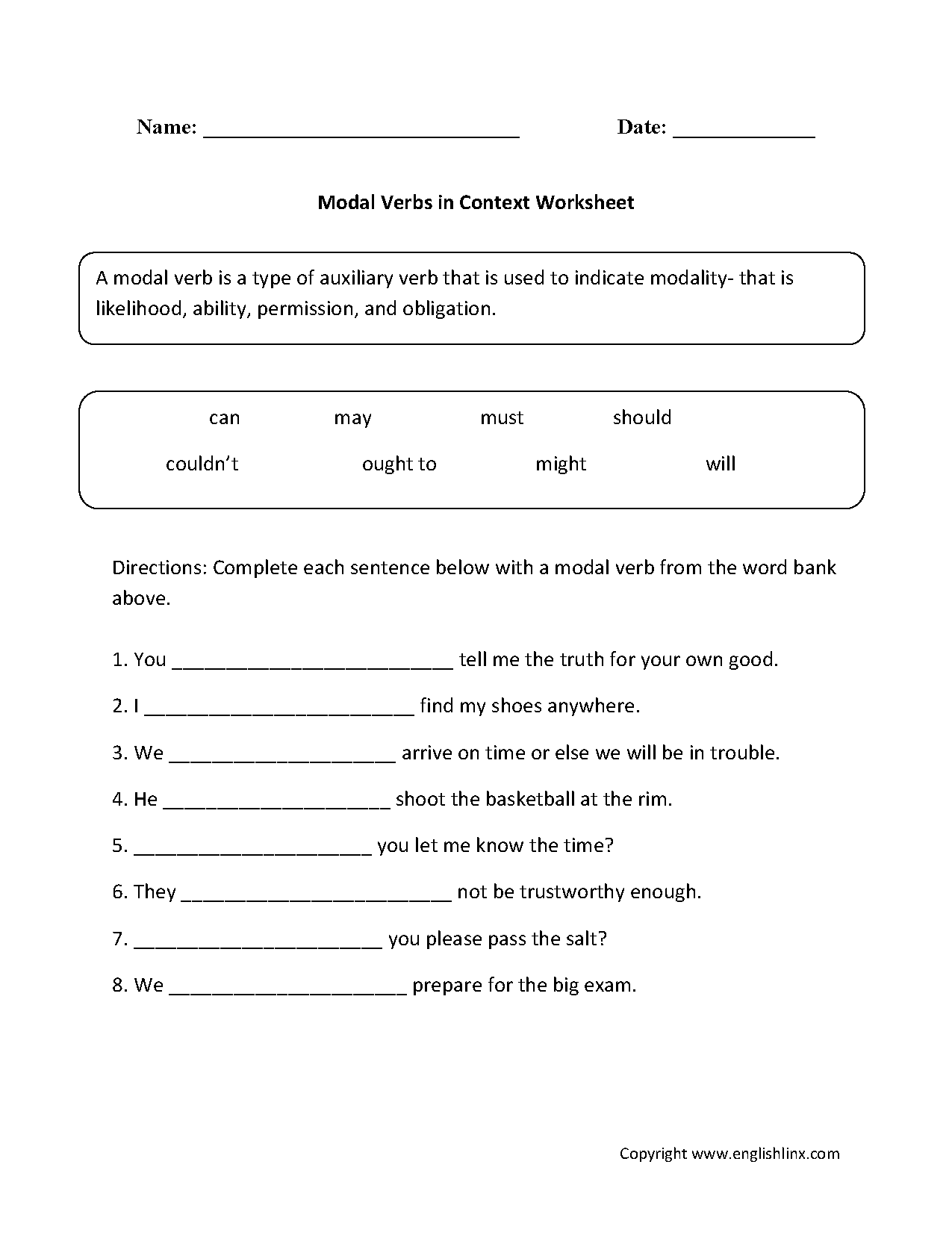 Modal Verbs In Context Worksheet With Images