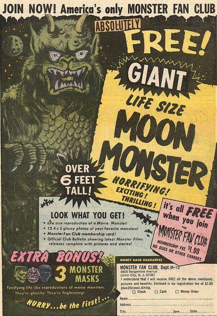 Monster Fan Club Comic book ad (1969)
