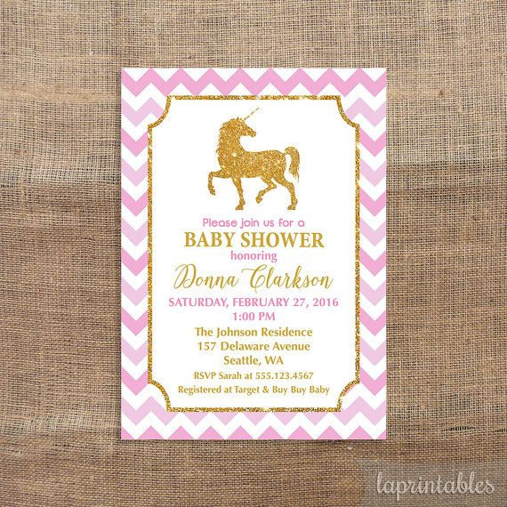 unicorn baby shower invitation pink and gold by laprintables, Baby shower invitations