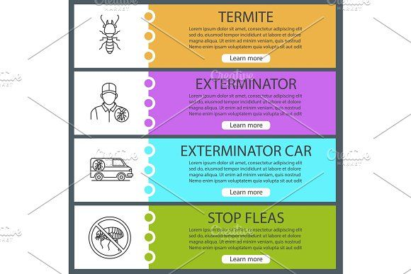 Pest control web banner templates set by Icons Factory on ...