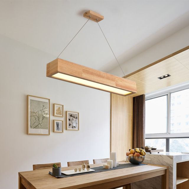 A1 n rdico colgante luces de barra de la l mpara de madera - Lamparas que den mucha luz ...
