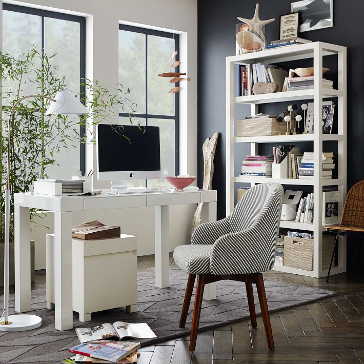 White Parsons Desk Saddle Chair By West Elm Bookshelf