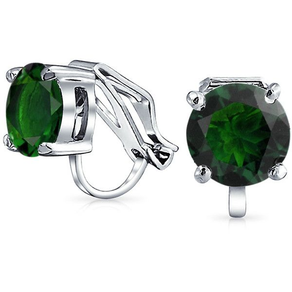 Round Green Emerald Color Solitaire Clip On Stud Earrings 8mm 15 Liked Polyvore Featuring Jewelry