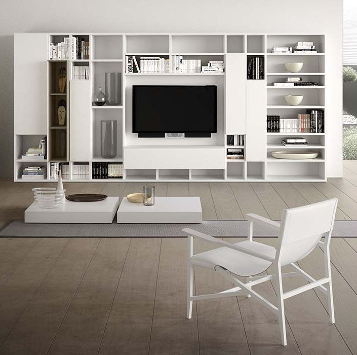 Mueble tv moderno de madera spazioteca pianca for Muebles bibliotecas para living