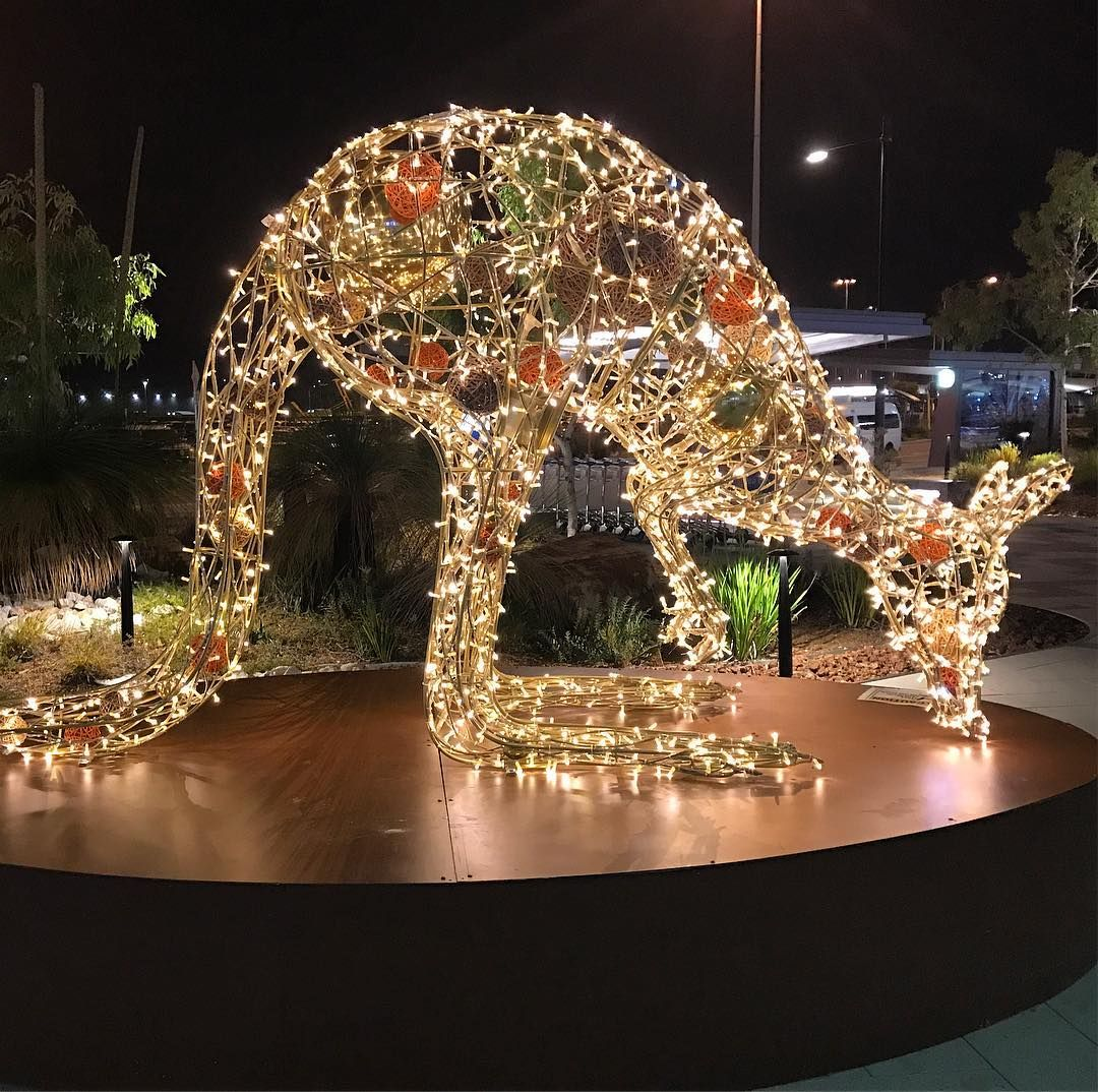 Christmas Kangaroo Lights.Outside Perth Airport Arrivals Hall Are Giant Kangaroos