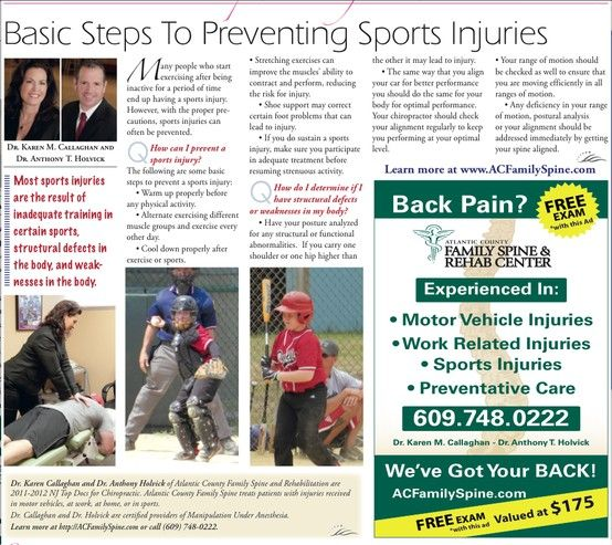 Basic Steps To Preventing Sports Injuries WE'VE GOT YOUR BACK!!!!