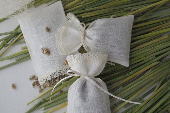 sachets fabric gift bags Bridal-Showers-favors Ivory 10 pcs Small linen bags Candy bags