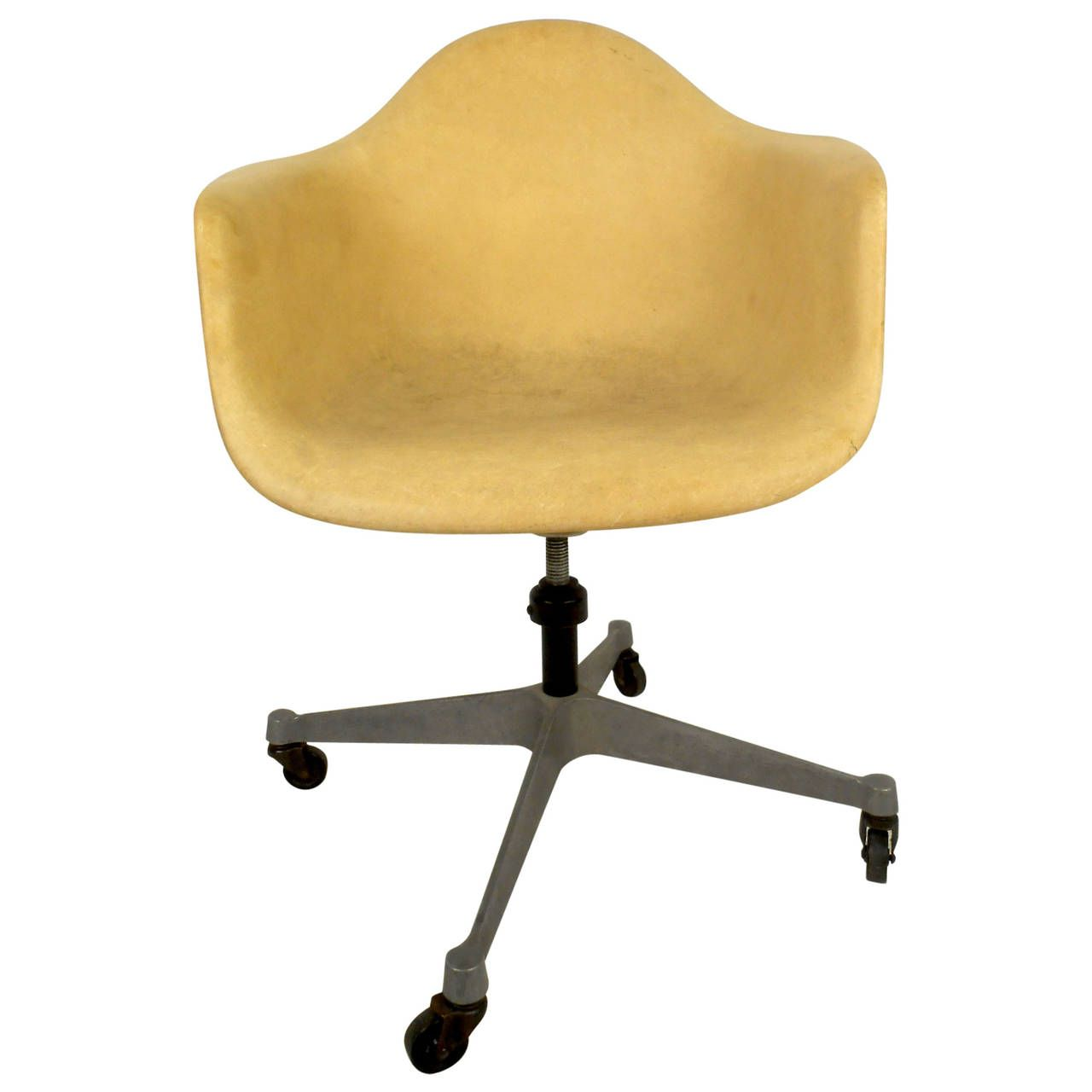 Herman Miller Shell Chair Mid Century Modern Fiberglass Shell Chair With Wheels By Herman