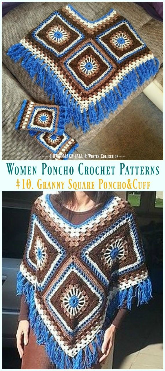 Fall & Winter Women Poncho Free Crochet Patterns & Paid #grannysquareponcho