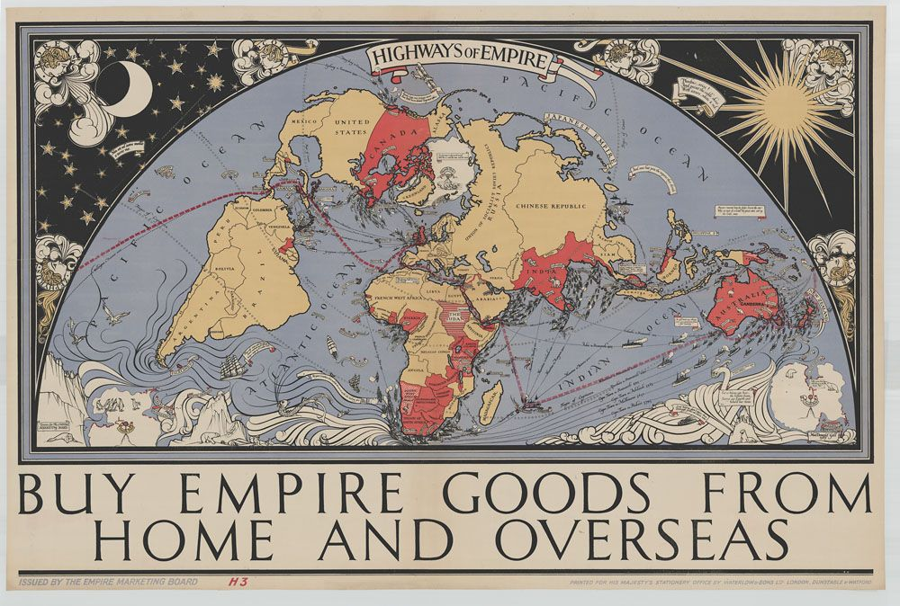 A 1927 pictoral map with all the dominions and trade routes British - copy map japan world war 2