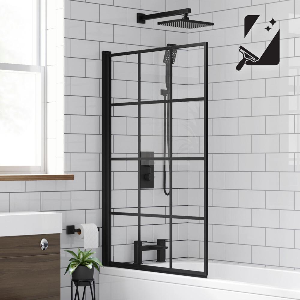 Shoji Crittall Style Bath Screen 800mm Black Bath Screen Soak Com Small Shower Remodel Shower Remodel Bath Shower Screens