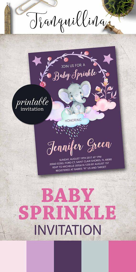 Baby Sprinkle invitation Printable Girl Elephant baby shower ...