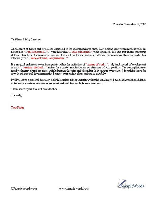 Basic Cover Letter Template Job seeking Cover letter sample