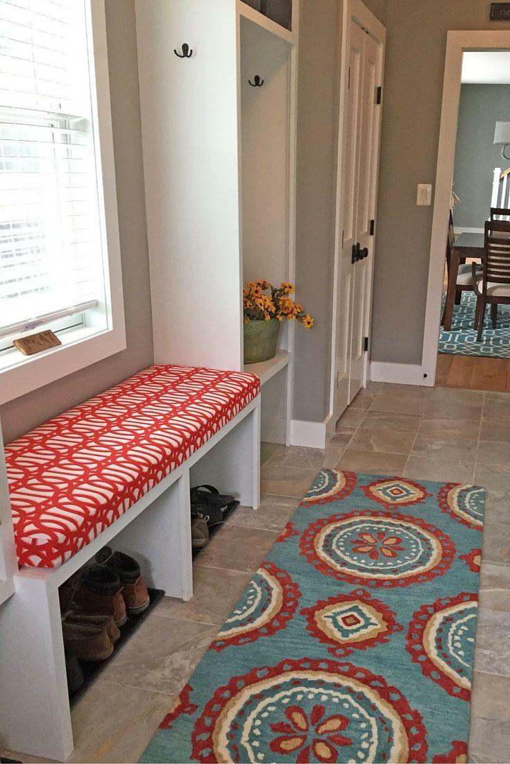 Custom Mudroom Bench Cushion Featuring Sunbrella Fabric Built