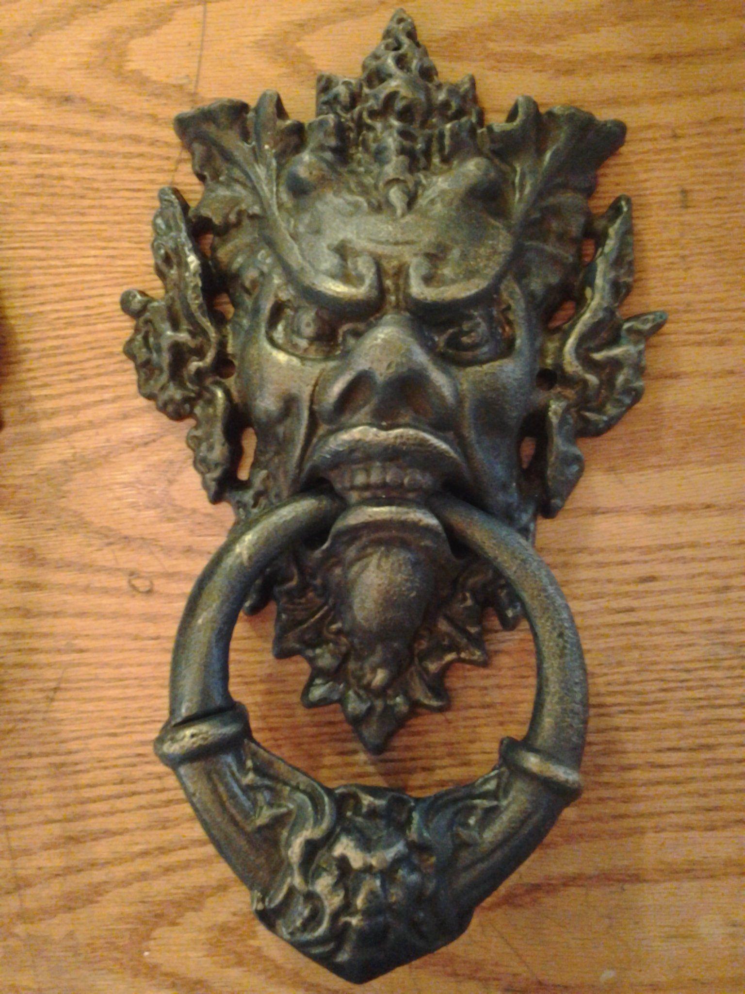 Cast Iron Door Knocker   Heavy Neptune Poseidon Man God