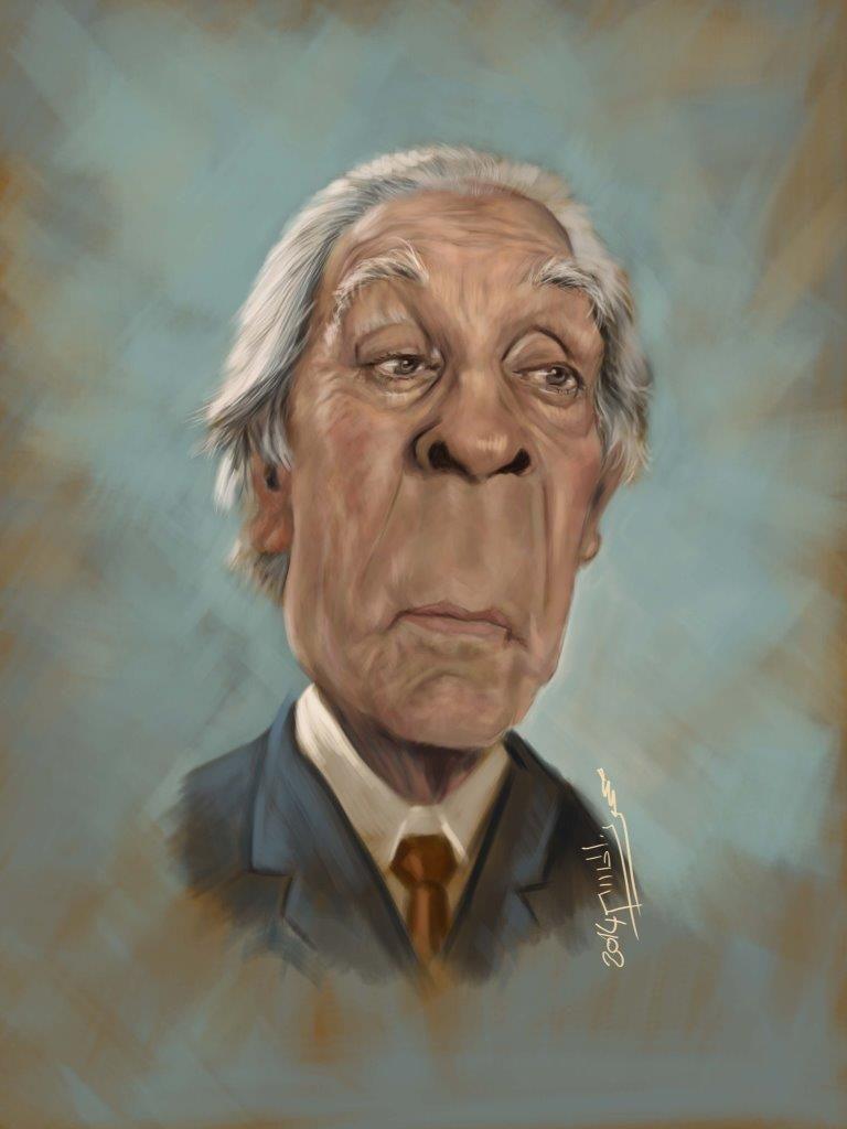 Jorge Luis Borges Caricature Celebrity Caricatures Caricature Drawing