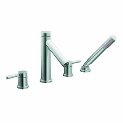 Moen T914 Level Two Handle High Arc Roman Tub Faucet And Hand