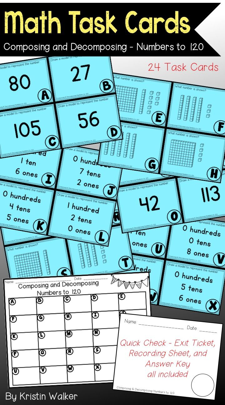 Math Task Cards - Composing and Decomposing Numbers to 120 ...