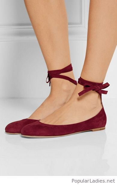 3e4966d4cf33 Lovely burgundy velvet flats lace-up