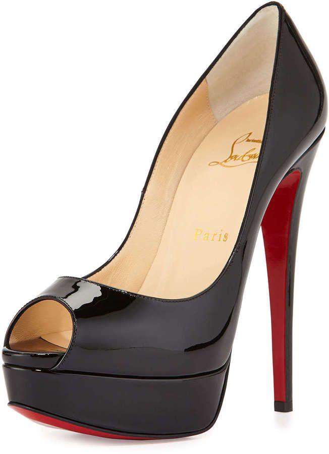c558586c82 Christian Louboutin Lady Peep Patent Red Sole Pump, Black | Ladies ...