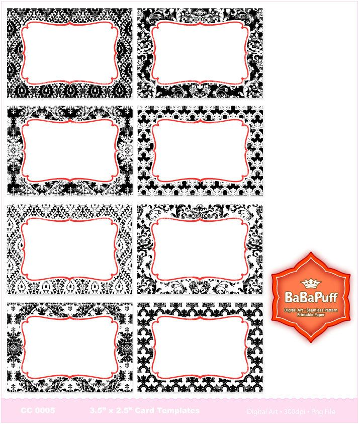 Print Your Own Cards --- 8 printables for business cards, invitations, etc. (DIY & Small Commercial Use) CC 0005. $4.25, via Etsy.