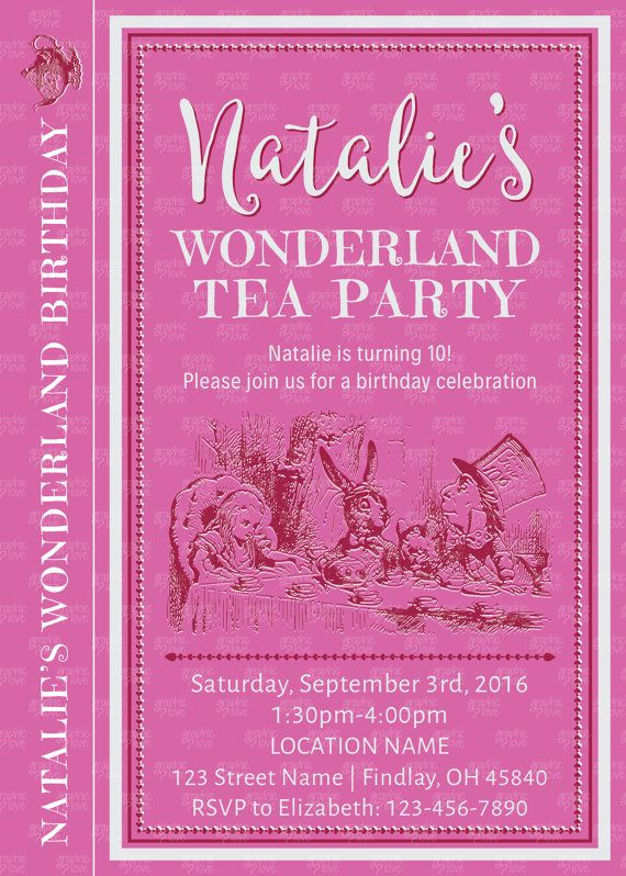 Wonderland Tea Party Personalized Birthday by GraphicLoveShop