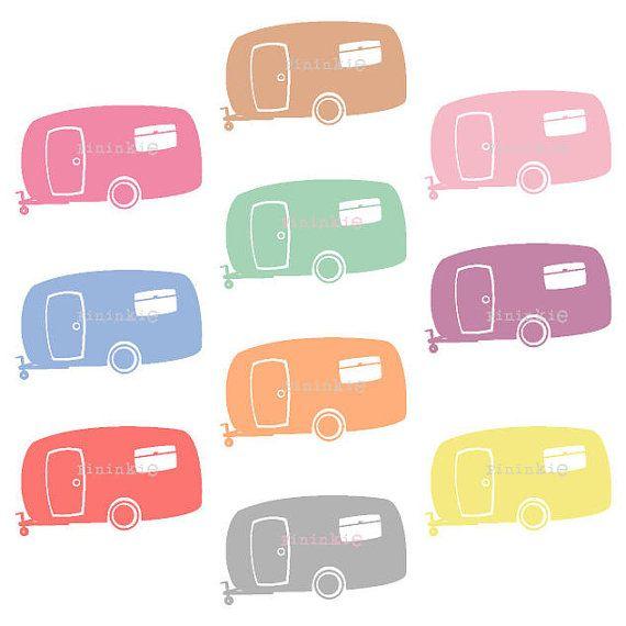 Retro Clipart, Summer Clipart, Camping Clip Art, Camper, Caravan ...