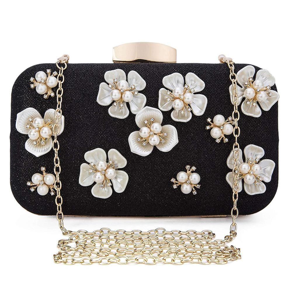 Box Satin Clutch Bag Hardcase Evening Handbag With Chain Designer New Stylish
