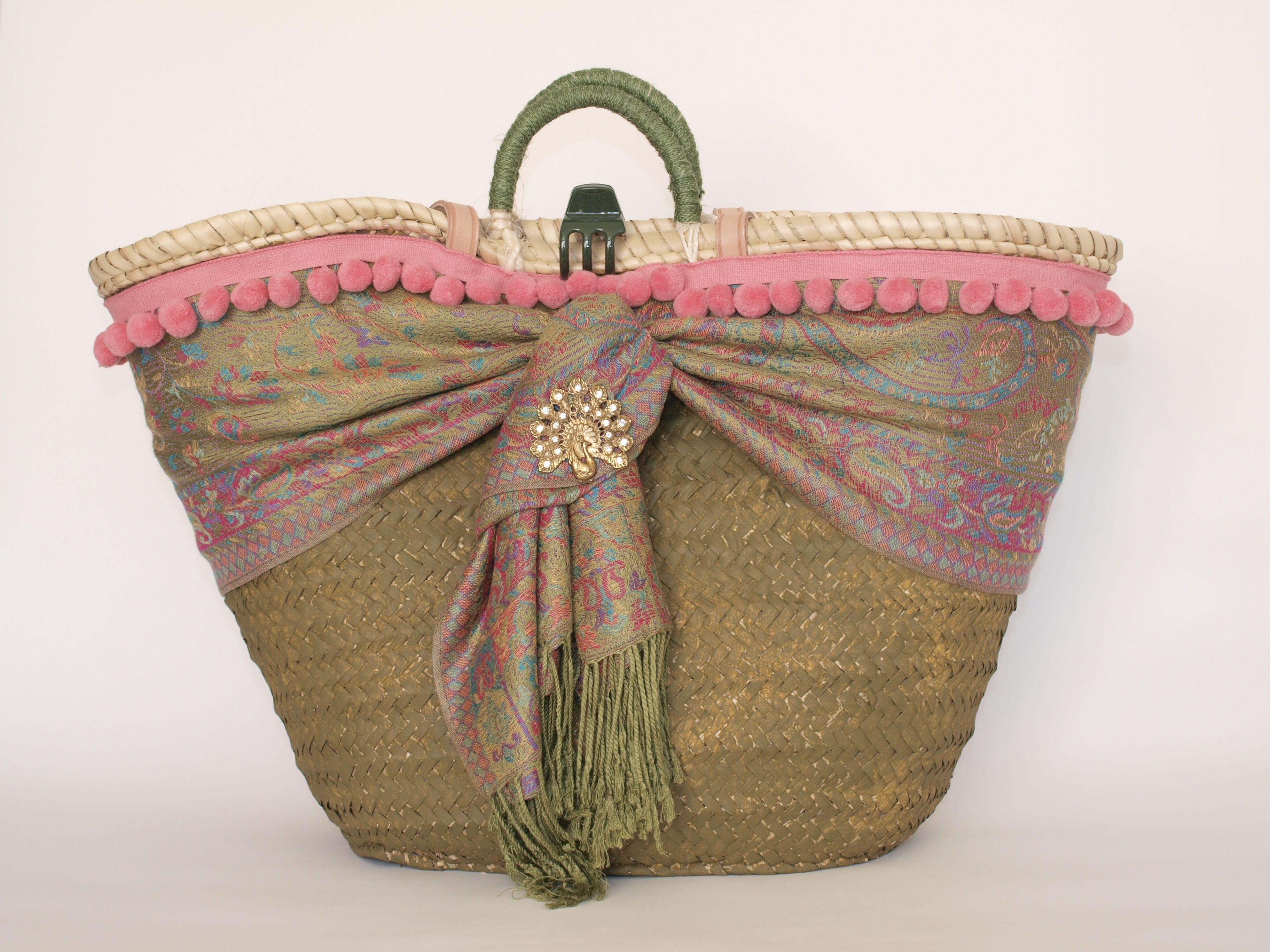 Capazo oliva cesto decorado bolsol - Capazo mimbre playa ...