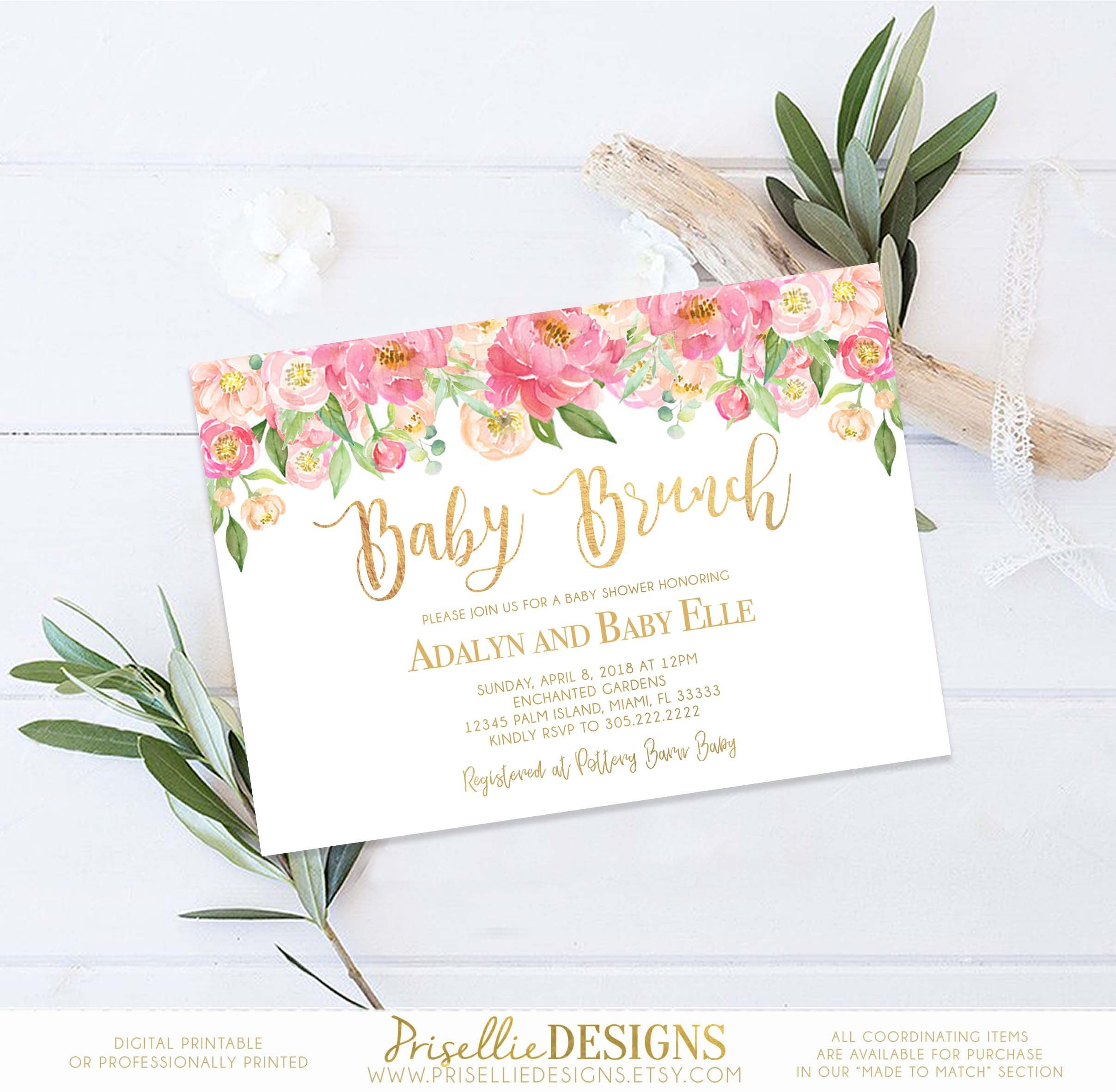 Floral Baby Shower Invitation, Pink Baby and Brunch Shower