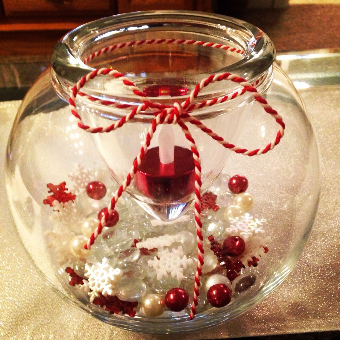 Christmas Decorations I Made This With A Glass Bowl Christmas Beads On The Bottom Candle Am A Bow Candle Arrangements Glass Bowl Decor Christmas Candle