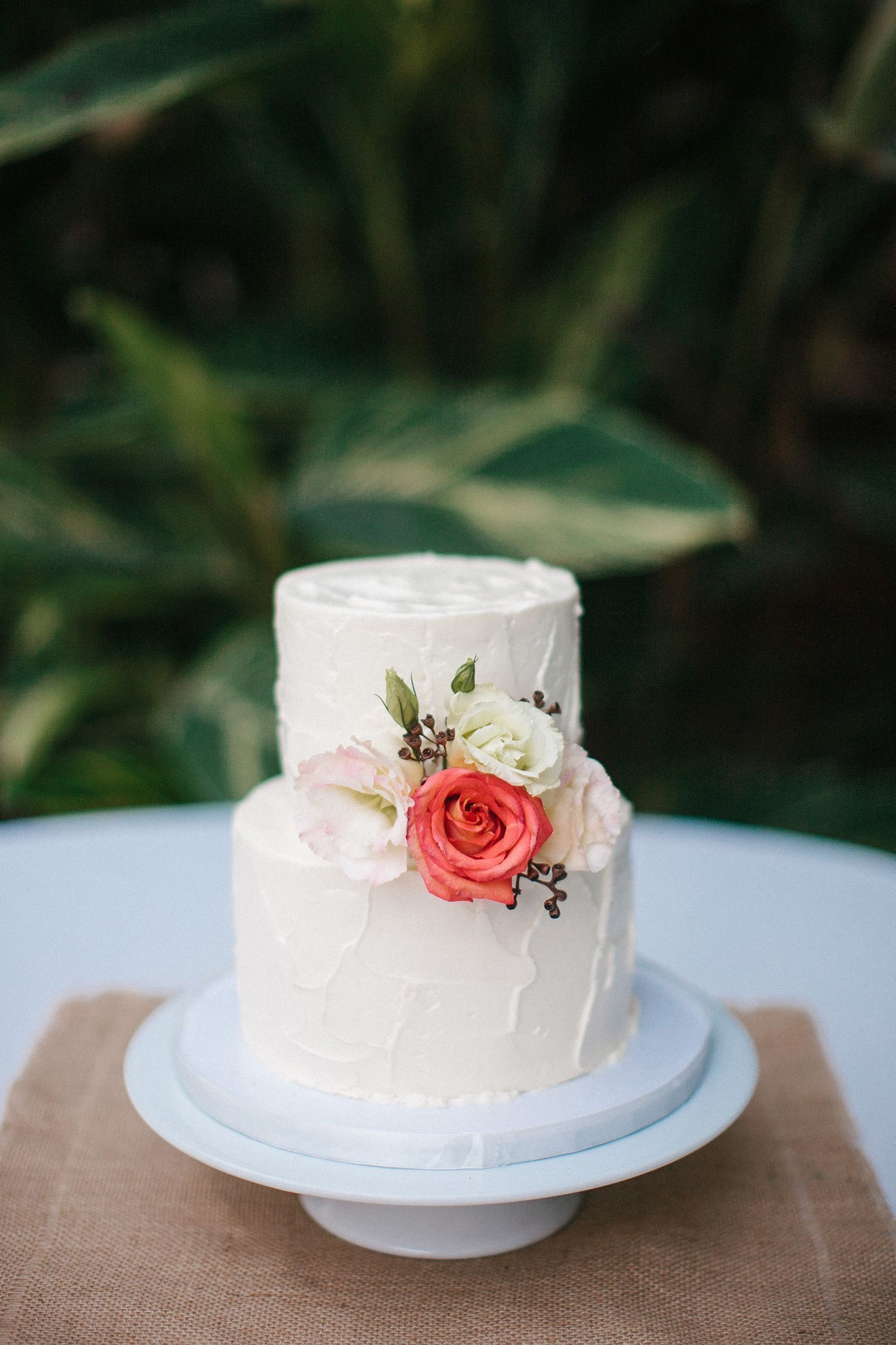 Simple two tier wedding cake. Photography: Love Is A Big Deal ...