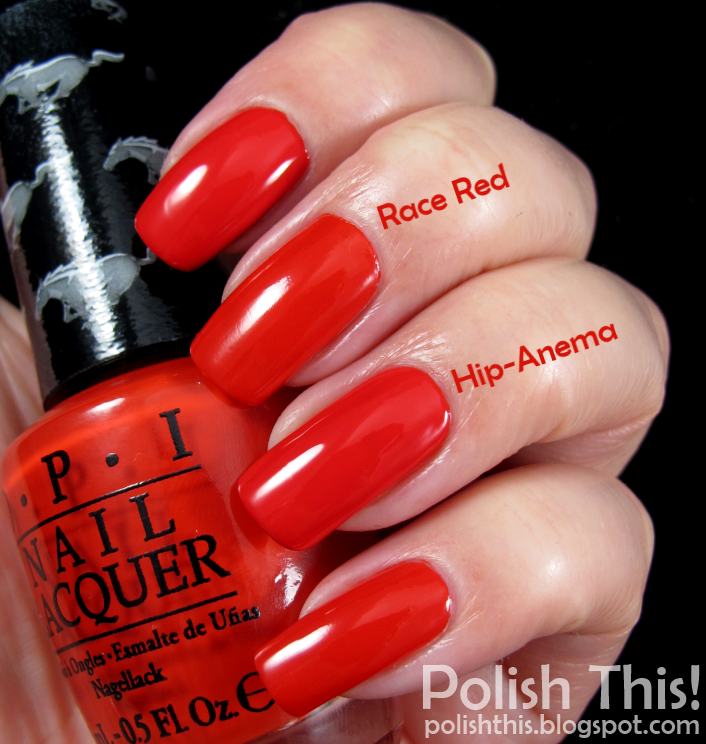 OPI Ford Mustang race red vs essie hip anema | esmaltes | Pinterest ...