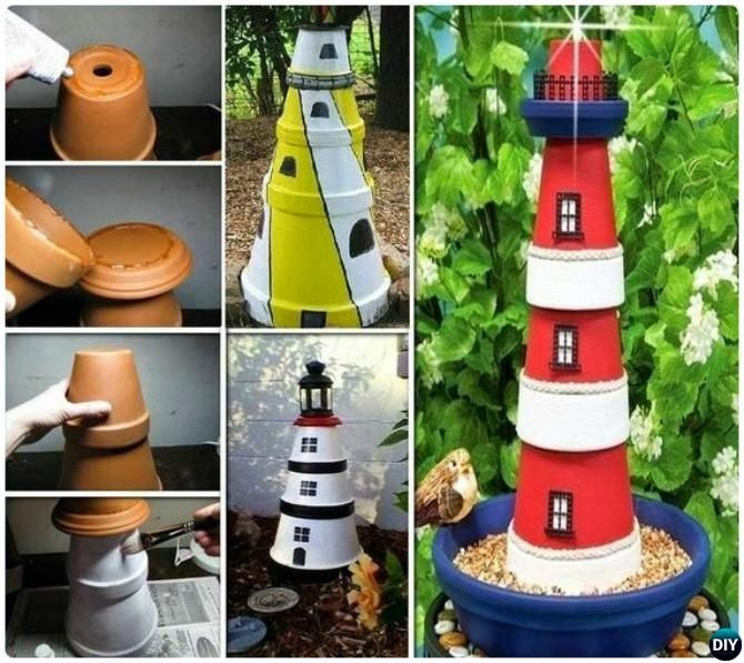 Terracotta Clay Pot Lighthouse DIY Clay Pot Garden Craft Projects ...