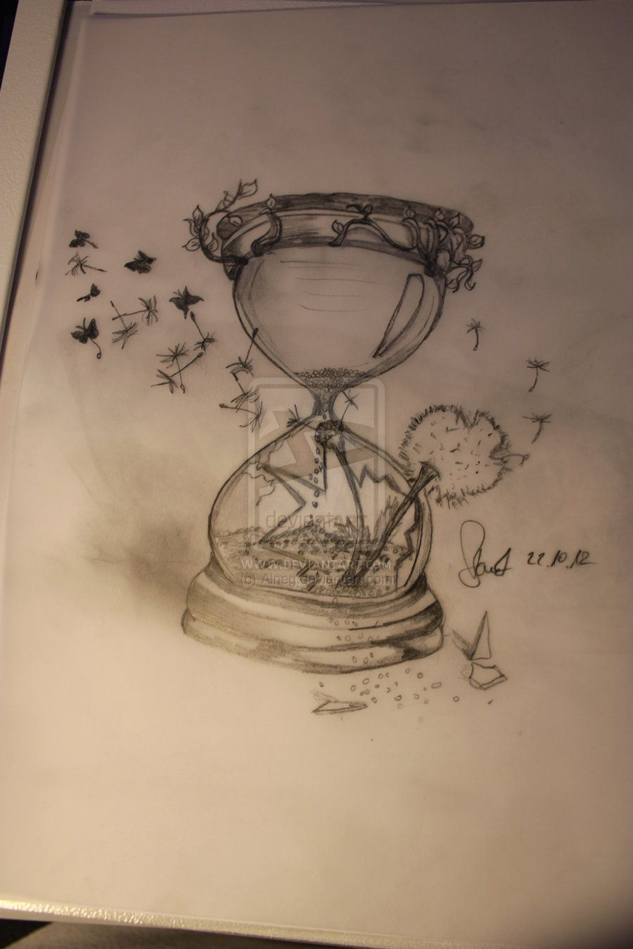Hourglass With Dandilion By Aineg On Deviantart Tattoos