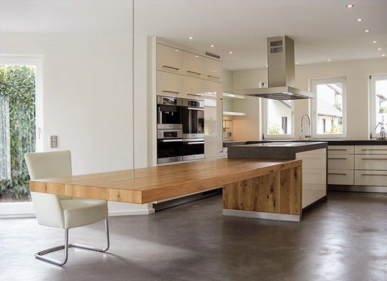 Mesa de cocina, gran ménsula (c/cable) madera (y hormigón /base ...