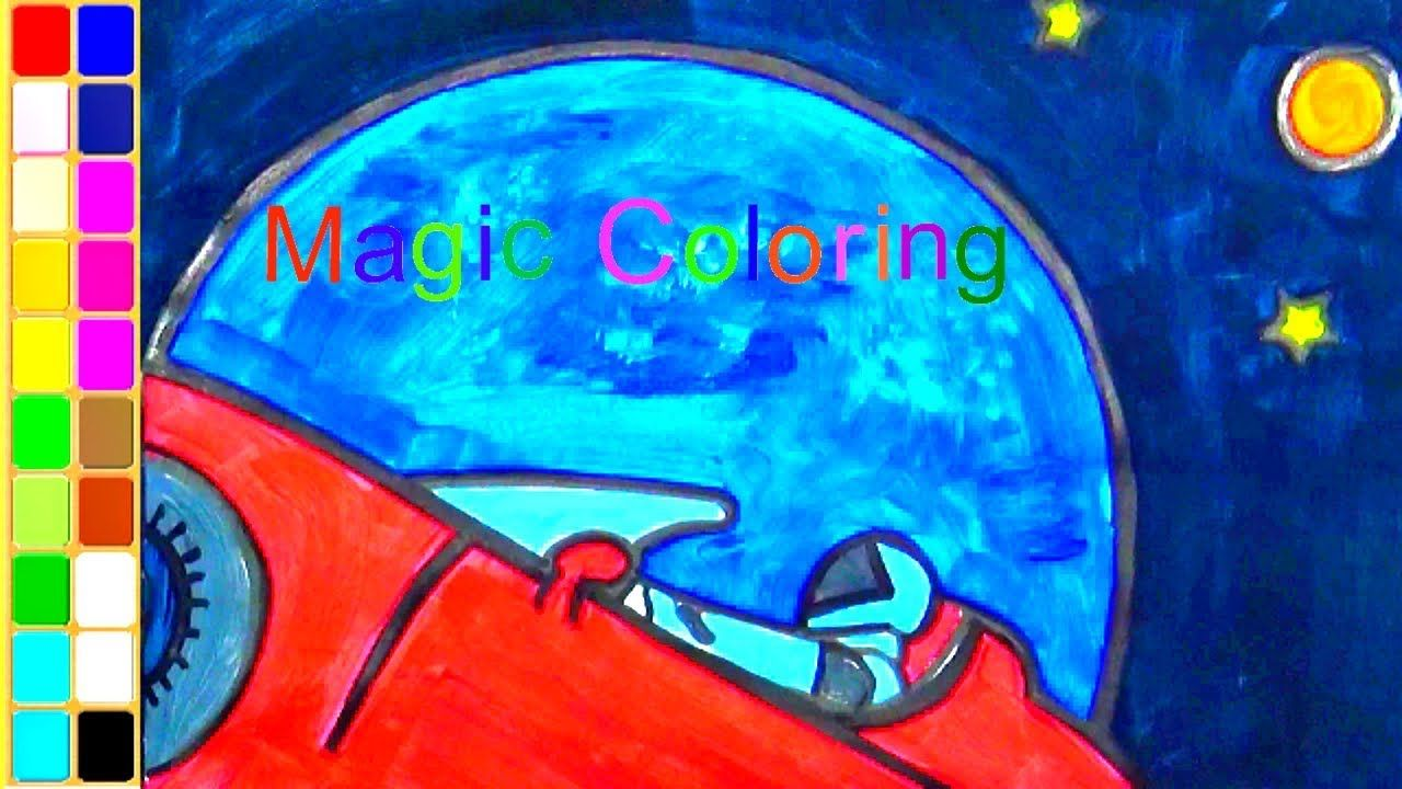 Drawing A Starman In Space Driving Red Sport Car Art Coloring Video Fo Red Sports Car Car Art Sports Cars