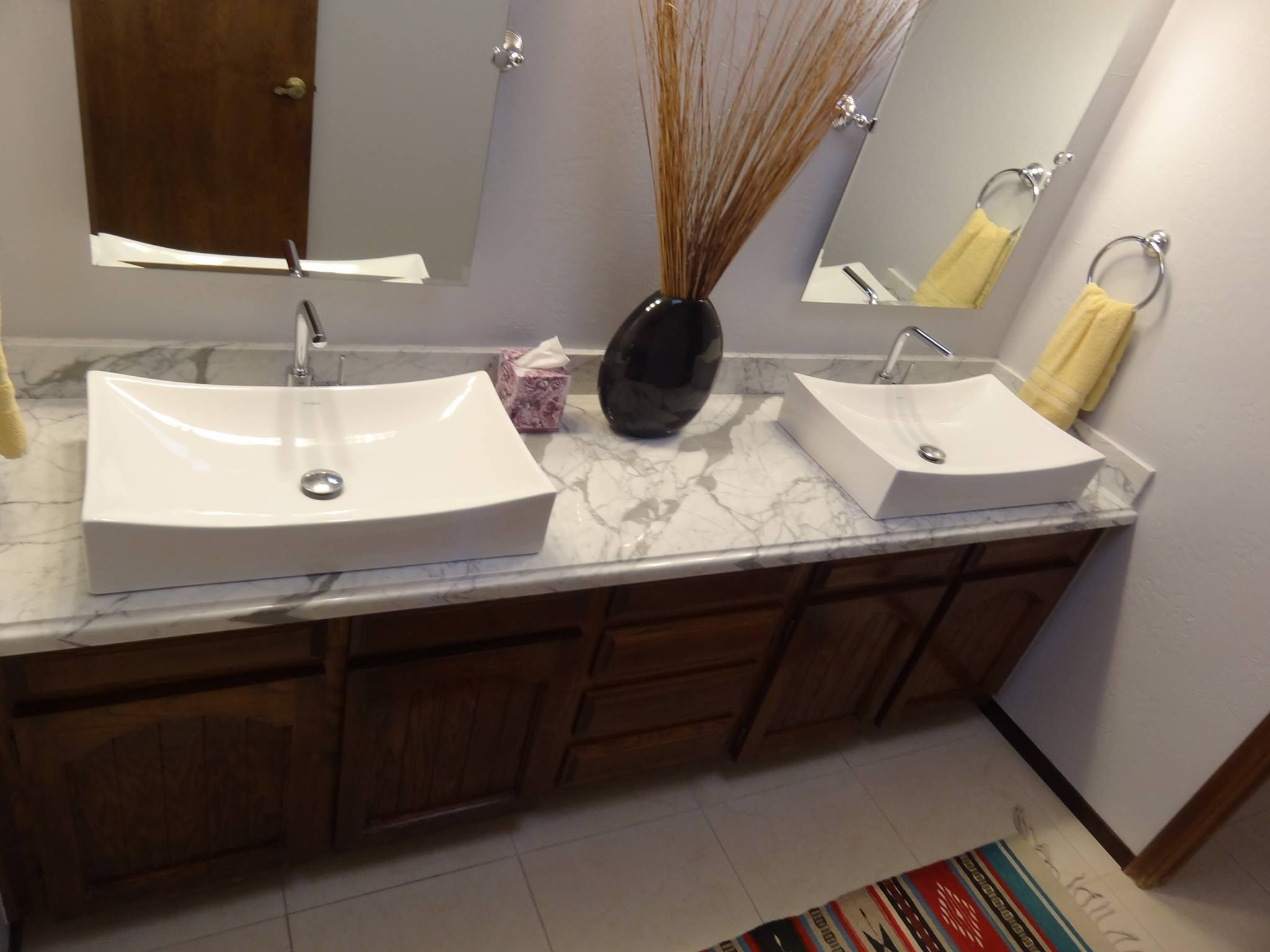 New Vanity Top And Drop In Sinks Really Modernize A Bathroom Mesmerizing Phoenix Bathroom Remodeling Decorating Design