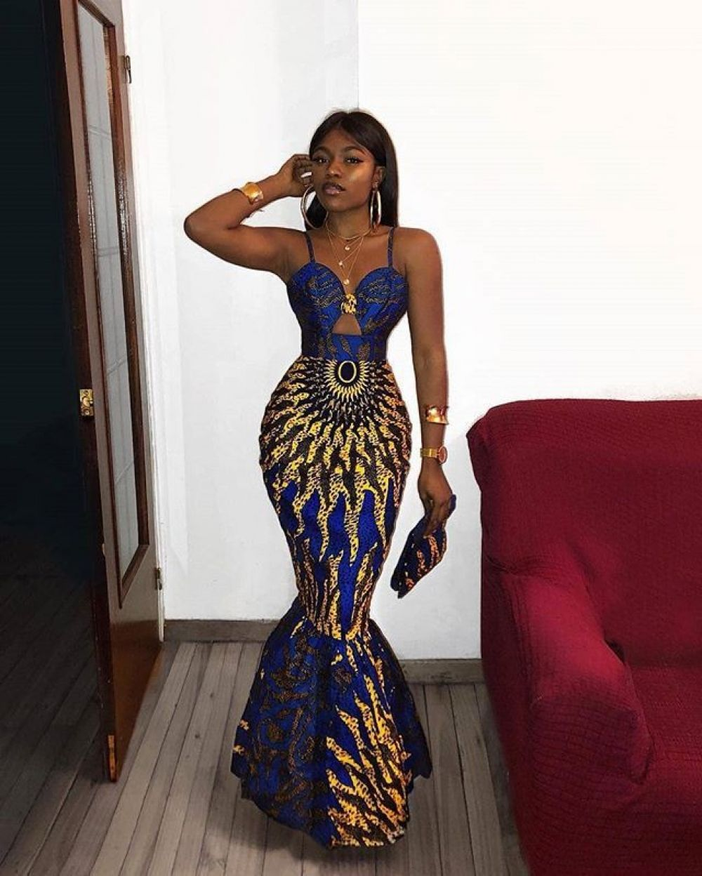 Blue Mermaid African Cocktail Dress